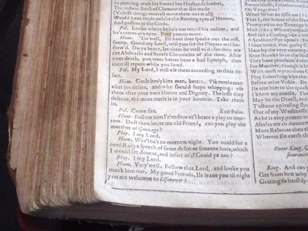 Shakespeare First Folio (Hamlet)